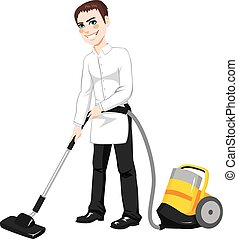 Male Hotel Cleaning Service - Male hotel service worker...
