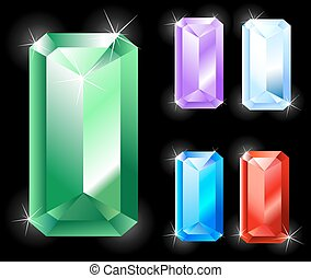 rectangular jewels - Gems rectangular, elongated cut:...