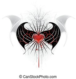 red heart of a vampire - artistically painted, red heart of...