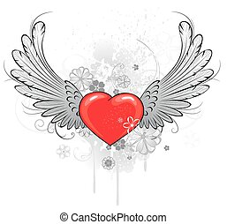 red heart with wings - red heart with gray wings, decorated...