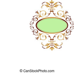 Golden floral frame - Green oval shape surrounded by a...