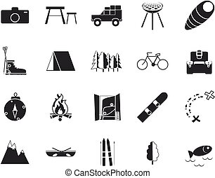 Vacation, Recreation & Travel, black and white icons set.