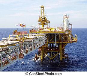 costa afuera, aceite, plataforma