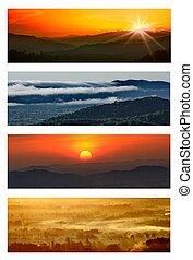 Idyllic landscape - set of nature background, Idyllic...