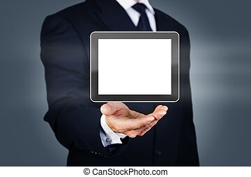 Businessman with digital tablet - Businessman with a 3d...