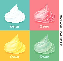 Whipped cream. Vector illustration set