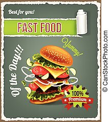 Hamburger is exploding Vector fast food banner