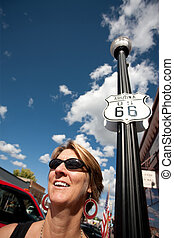 Woman on Route 66 - Woman on side of route in front of Route...