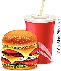 Fast food banner with hamburger