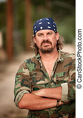 Man in camoflauge - Portrait of rugged man in camoflauge...