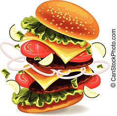 Hamburger is exploding. Vector illustration