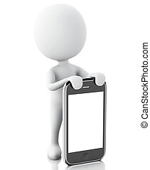 3d white people next to the smartphone. - 3d renderer image....