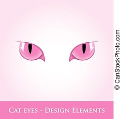 Cat eyes - Pink cat eyes design element isolated on pale...