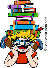 Book Reader Kid vector illustration image scalable to any...