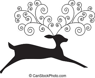 reindeer black art - reindeer black vector illustration...