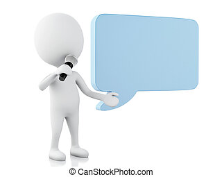 3d white people with a blank speech bubble. Communication...