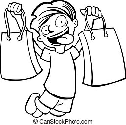 shopping bag kid line art vector illustration image scalable...