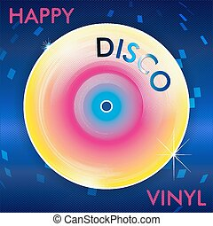 Retro Disco Vinil - Colorful Abstract Retro Disco Vinil...