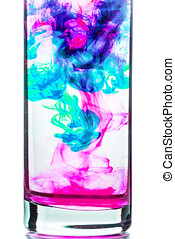 Ink in water - Colored inks create abstract forms in aqueous...