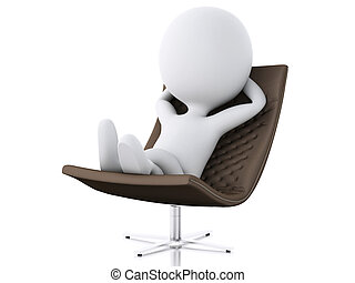 3d white people relax. Isolated white background - 3d...