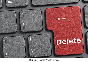 Delete key on keyboard - Red delete key on keyboard