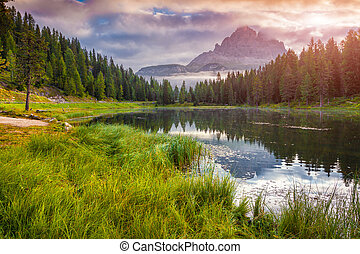Lake Antorno and Tre Cime of Lavaredo south face in Italy...