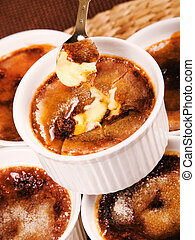 Creme Brulee, one portion, close up