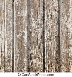 old planks with peeling white paint on square image