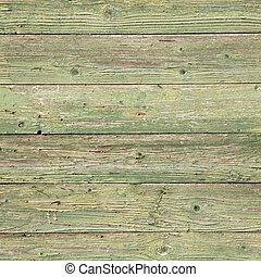 old planks with peeling green paint on square image - old...