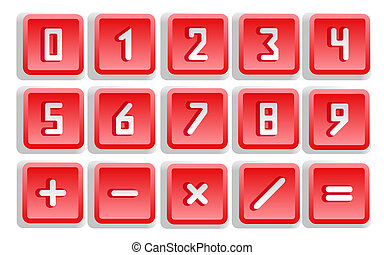 Red Numeric Button Set