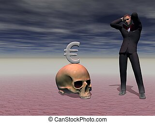 man panics in front of the crisis - 3d render