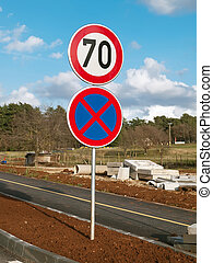 Traffic signs - traffic signs at new roadway