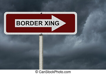 The way to the Border Crossing, Red and white street sign...