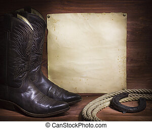cowboy background with western shoes and lasso and paper -...