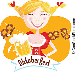 Octoberfest Bavarian woman - Oktoberfest girl in traditional...
