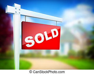 Sign - Sold - Real Estate Sign – Sold 2D artwork Computer...