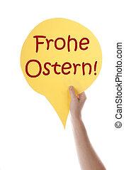 手段, ドイツ語,  balloon, 黄色,  frohe, スピーチ,  ostern, イースター, 幸せ