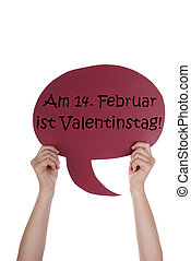 Red Speech Balloon With German Valentinstag Means Valentines...