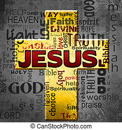 Jesus word cloud, Easter grunge background - religious...