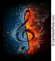 Treble Clef in Fiere and Water isolated on Black Background.