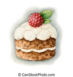 Cake with raspberry - Hand painted watercolor ?ake with...