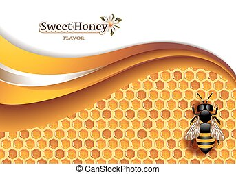 Honey Background with Working Bee - Vector illustration of...