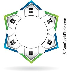 Houses in a circle array