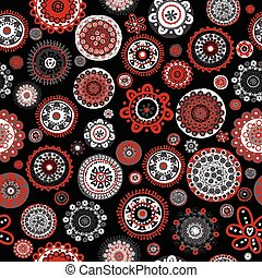 Seamless with doodle flowers over black background