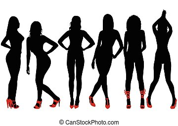 Silhouettes of sexy women with red shoes