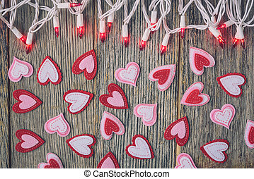 Valentines Day Top Down Background Blurred with Hearts and...