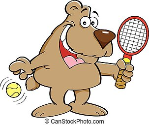 Cartoon Bear Holding a Tenis Racket - Cartoon illustration...