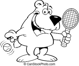 Cartoon Bear Holding a Tenis Racket - Black and white...