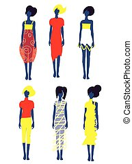 Set of dresses and fashion models illustration