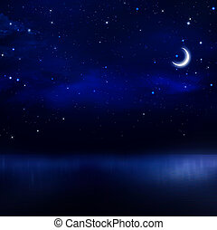 night sky in the open sea - beautiful night sky in the open...